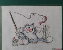 """Техника вышивания счетный крест: """"Кот на рыбалке"""""""