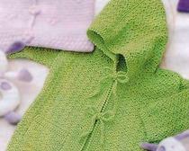 Детский зеленый жакет крючком