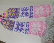 Вязание спицам: детский шарф с рисунком