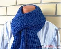 Вяжем мужской шарф английской резинкой