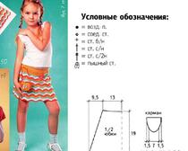 """Юбочка для девочки 7 лет крючком узором """"зигзаг"""""""