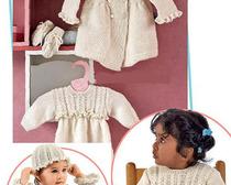 Вяжем спицами детский набор, состоящий из платья, рукавичек, пальто и шапки