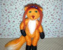 Лисичка-модница, свалянная из шерсти
