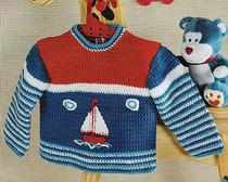 Вязаный пуловер крючком для будущего морячка