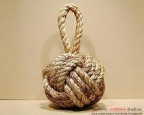 Оригинальный предмет интерьера своими руками. Изготовления декоративного морского узла из бечевки