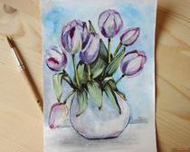 Как нарисовать цветы: тюльпаны акварелью