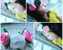 Ободок с розами из лент