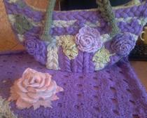 Комплект сумка,шаль,брошь-цветок.