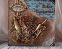 Скрапбукинг: открытка для любителя рыбалки