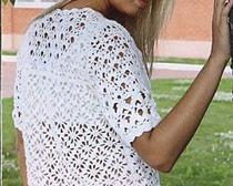 Вязание крючком летней белой кофточки