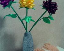 Красавица роза из атласных лент