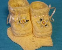Вязание спицами: Пинетки для малыша