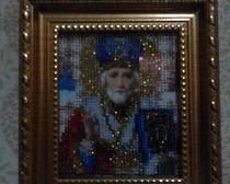 Вышитая бисером икона Николая-чудотворца