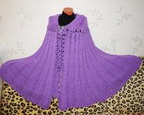 """Схема вязания пончо спицами. Пончо """"Фиолетовый шик"""" со схемой рисунка"""