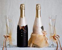 Свадебный декупаж бутылок с шампанским