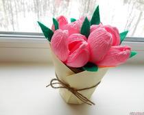 Букеты из гофрированной бумаги: горшочек с цветами