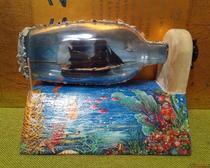 Креативные подарки - корабль в бутылке Черная жемчужина