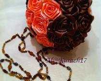 Букет канзаши: Персик в шоколаде
