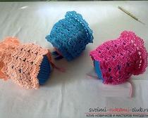 Ажурные чепчики для новорожденных детей крючком на лето