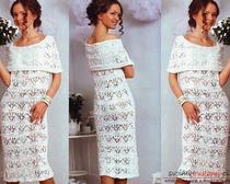 Вязаное свадебное платье спицами. Схема и описание