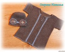 Детская одежда крючком: рубашка филейной сеткой