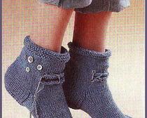 Вяжем <u>спицах</u> теплые носочки двумя спицами