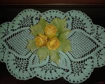 Вязание крючком: Салфетка зелёная