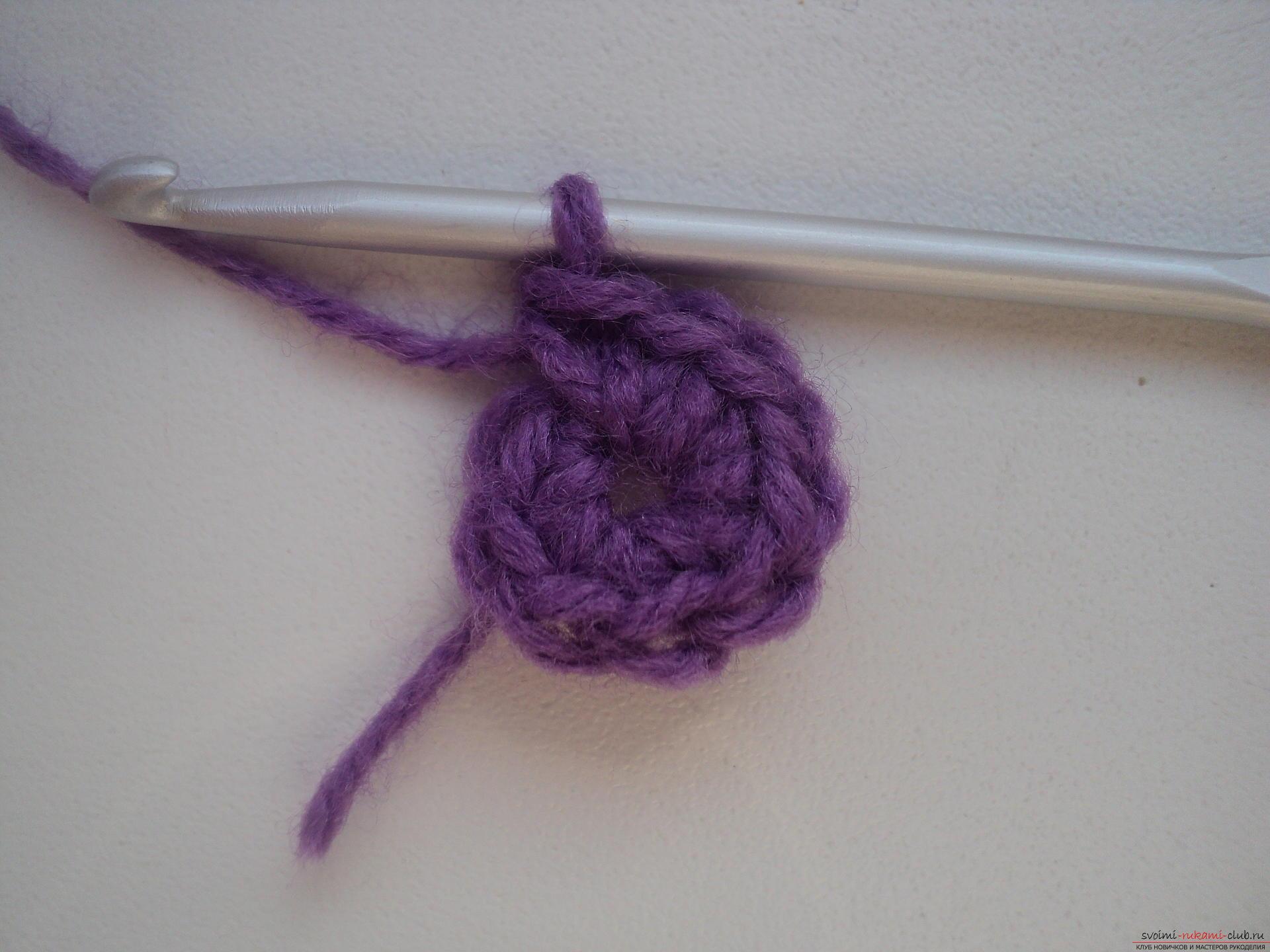 Вязание крючком цветов для повязок 708