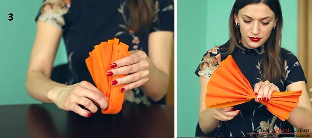 Изготовление своими руками декоративного помпона из гофрированной бумаги. Фото №5