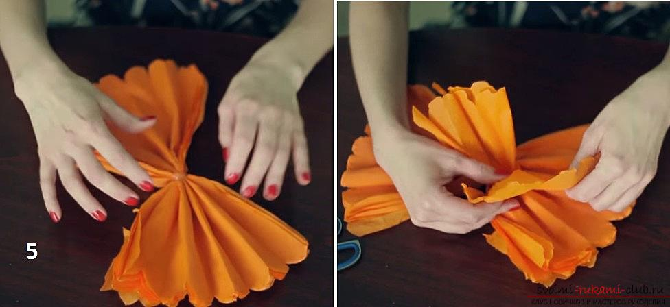 Изготовление своими руками декоративного помпона из гофрированной бумаги. Фото №7