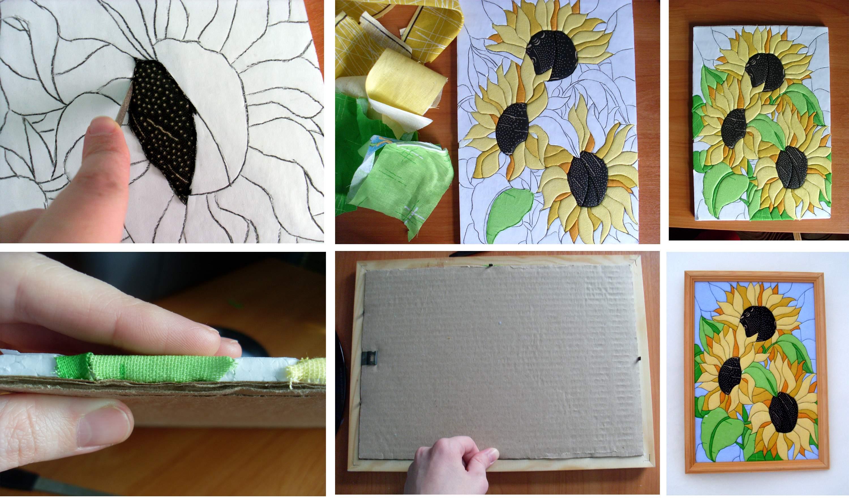 Картины из ткани своими руками схемы шаблоны