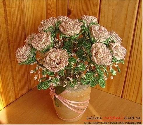 Бесплатные схемы плетения розы из бисера, мастер классы с фото и описанием работы.. Фото №7