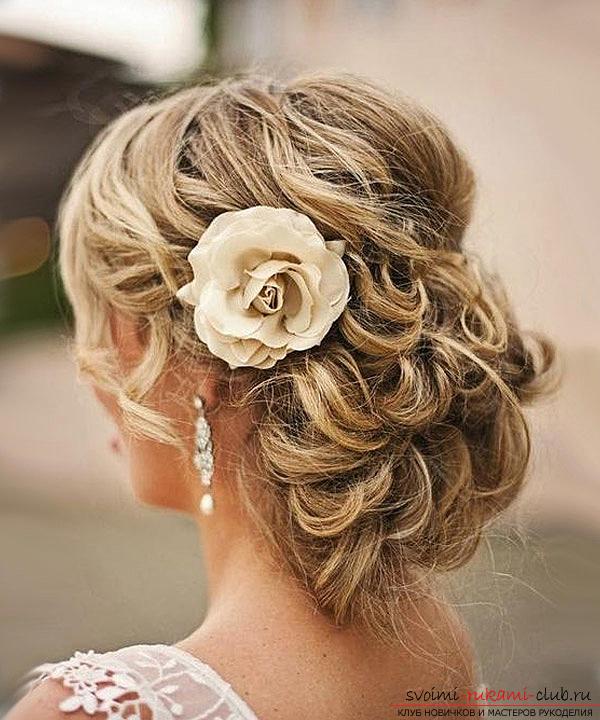 Свадебные причёски на среднюю длину волос без челки