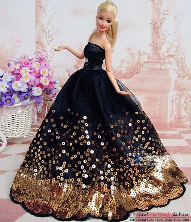 Выкройка элегантного чёрно-белого платьица со шляпкой для куклы своими руками. Фото №1
