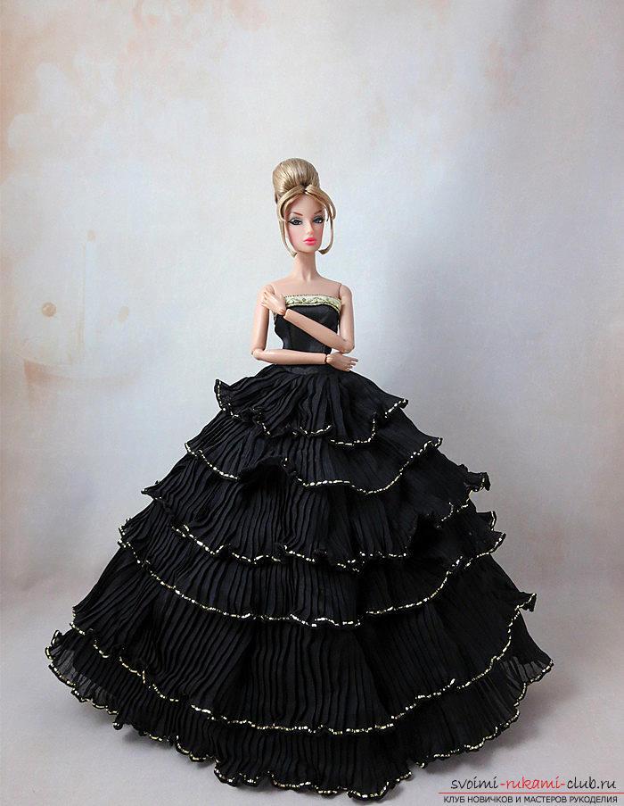Выкройка элегантного чёрно-белого платьица со шляпкой для куклы своими руками. Фото №5