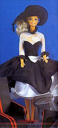 Выкройка элегантного чёрно-белого платьица со шляпкой для куклы своими руками. Фото №3