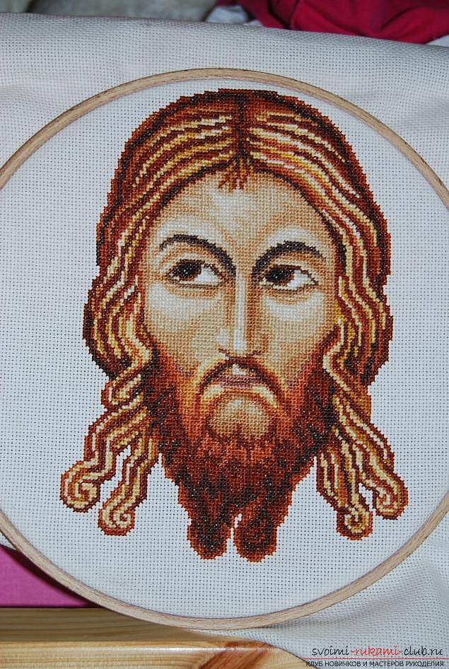Вышиваем крестом иконы Спасителя и Святой Блаженной Матроны для начинающих. Фото №5
