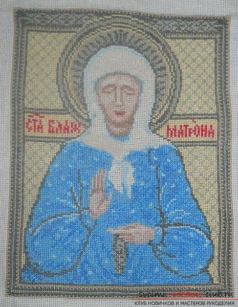Вышиваем крестом иконы Спасителя и Святой Блаженной Матроны для начинающих. Фото №8
