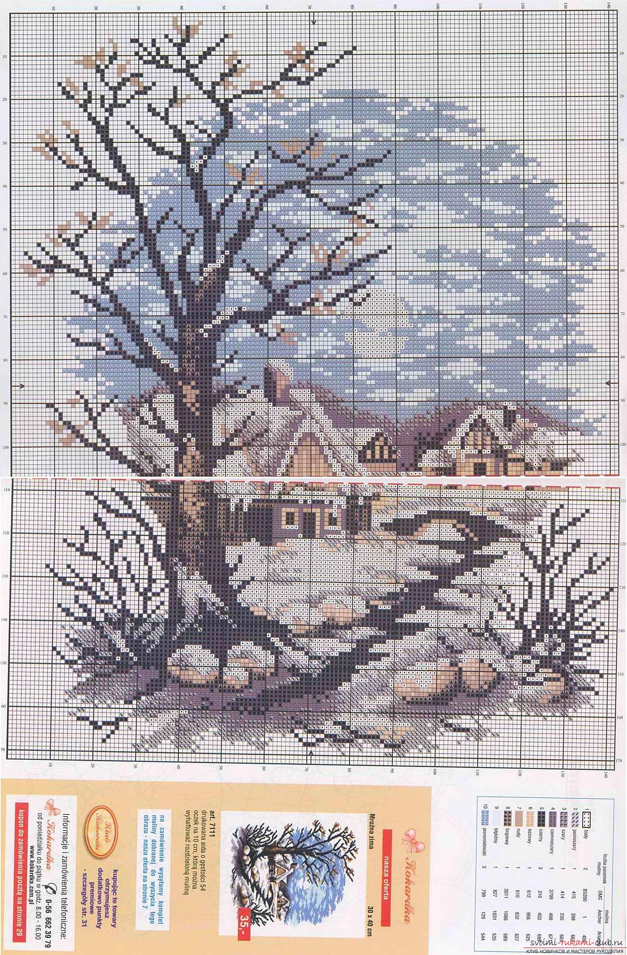 бесплатные цветные схемы вышивки крестом пейзажи