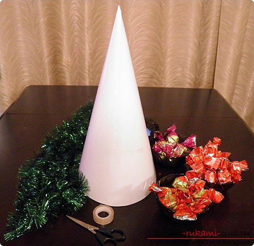 Новогодняя елка своими руками, новогодняя елка из ткани, как сделать новогоднюю елочку своими руками, елка из конфет, мастер-классы по изготовлению елок.. Фото №31
