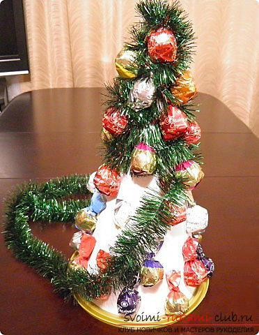 Новогодняя елка своими руками, новогодняя елка из ткани, как сделать новогоднюю елочку своими руками, елка из конфет, мастер-классы по изготовлению елок.. Фото №32