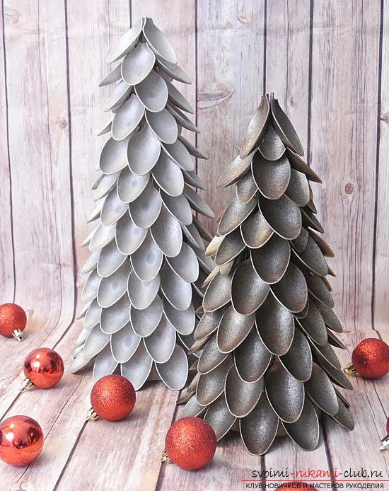 Новогодняя елка своими руками, новогодняя елка из ткани, как сделать новогоднюю елочку своими руками, елка из конфет, мастер-классы по изготовлению елок.. Фото №1
