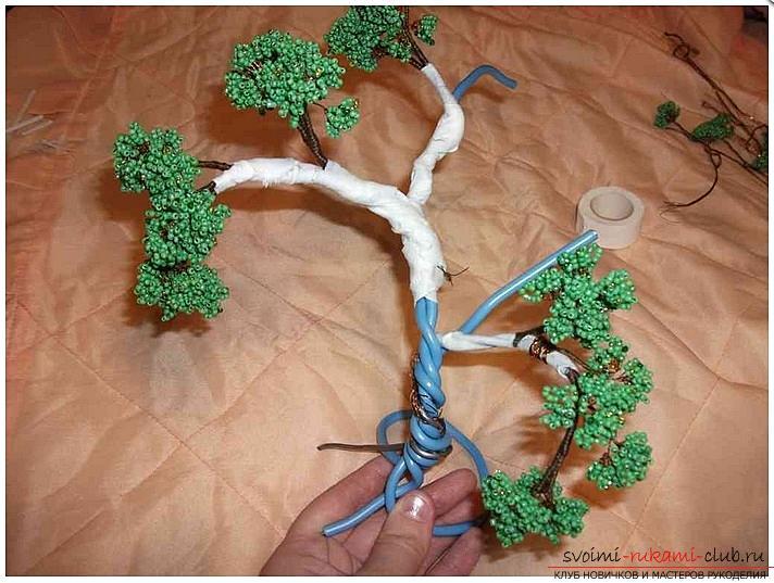 Как сделать дерево бонсай из бисера своими руками, несколько мастер классов создания бонсай в разных цветовых решениях, пошаговые фото и описание. Фото №9