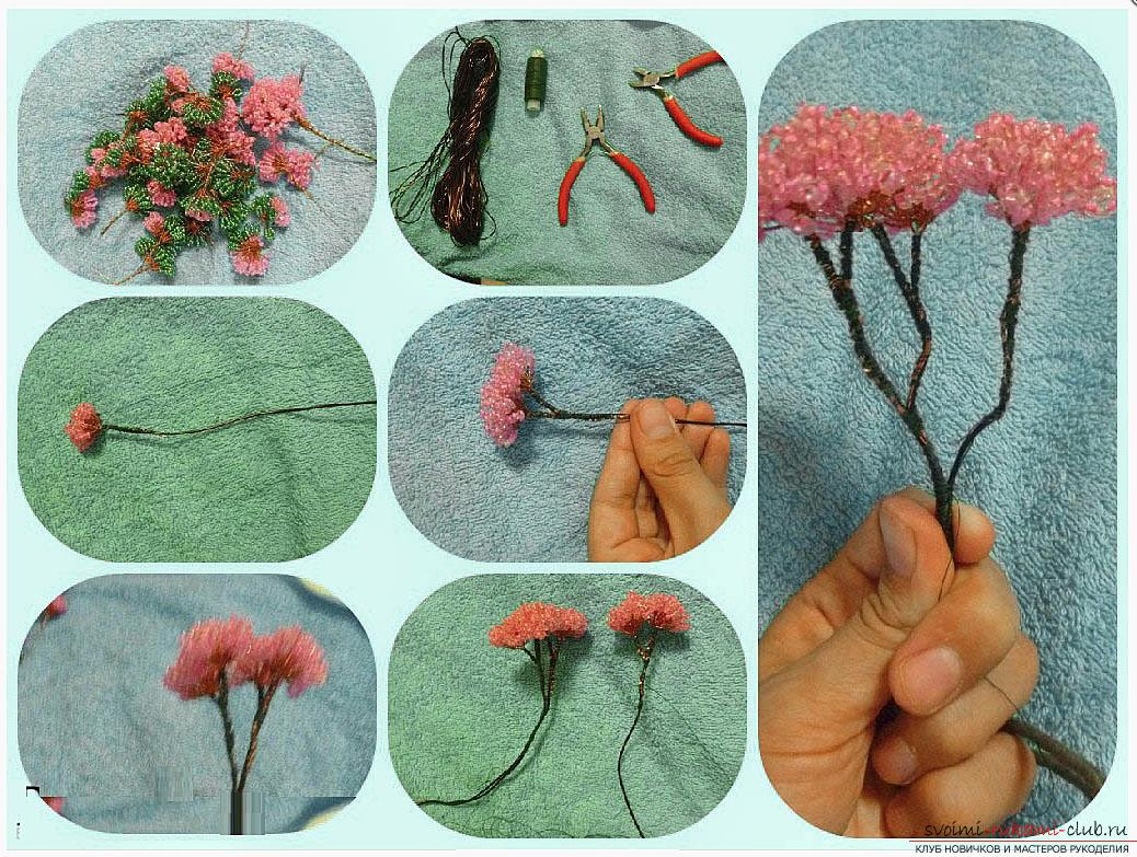 Как сделать дерево бонсай из бисера своими руками, несколько мастер классов создания бонсай в разных цветовых решениях, пошаговые фото и описание. Фото №14