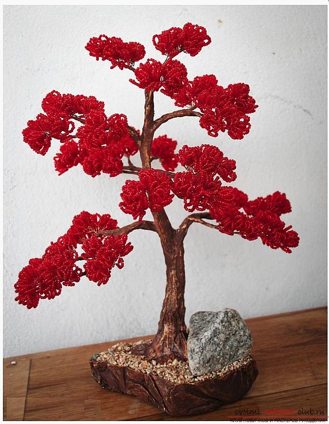 Как сделать дерево бонсай из бисера своими руками, несколько мастер классов создания бонсай в разных цветовых решениях, пошаговые фото и описание. Фото №22