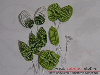 Как сплести орхидею из бисера, подробный и пошаговый мастер класс французской осевой техники плетения цветов из бисера с большим количеством фото и описанием работы. Фото №14