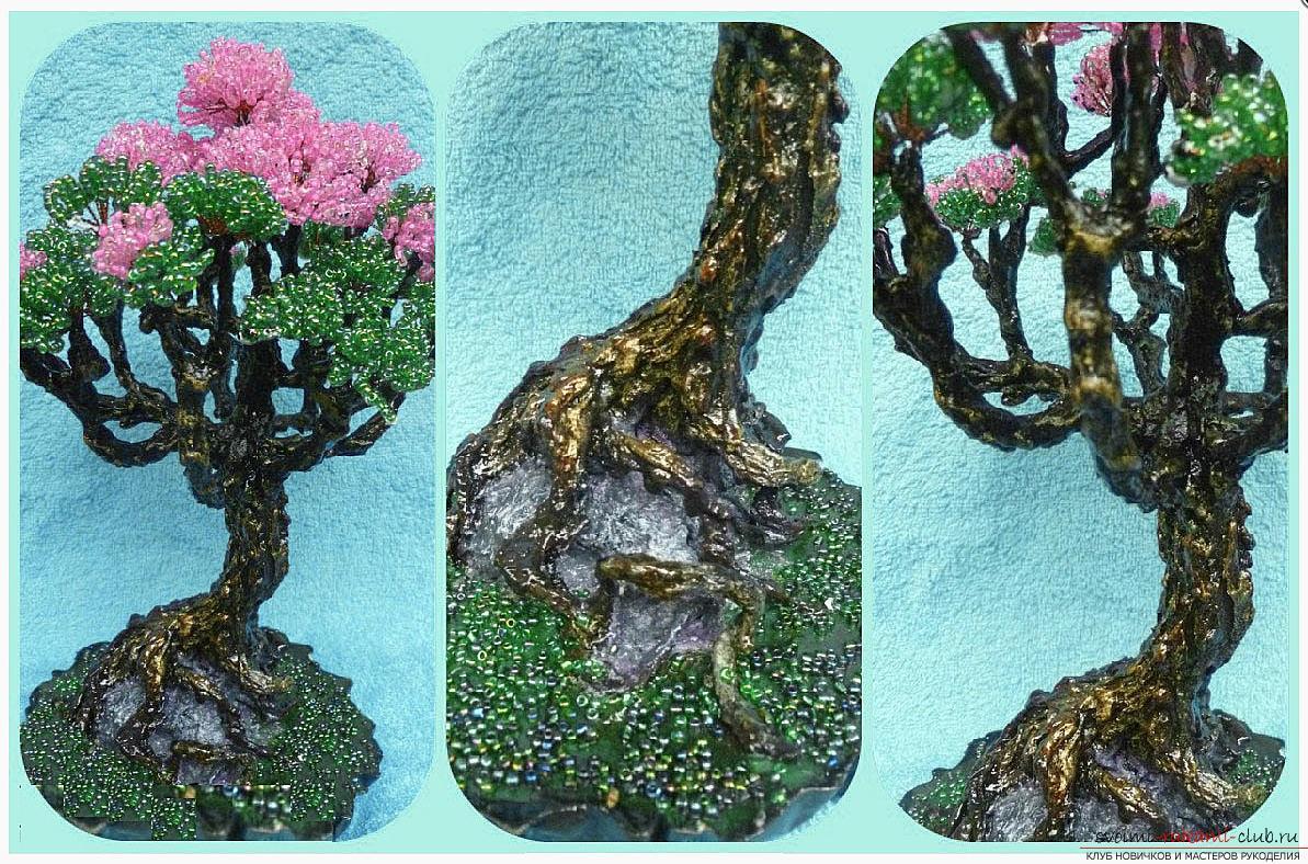 Как сделать дерево бонсай из бисера своими руками, несколько мастер классов создания бонсай в разных цветовых решениях, пошаговые фото и описание. Фото №21