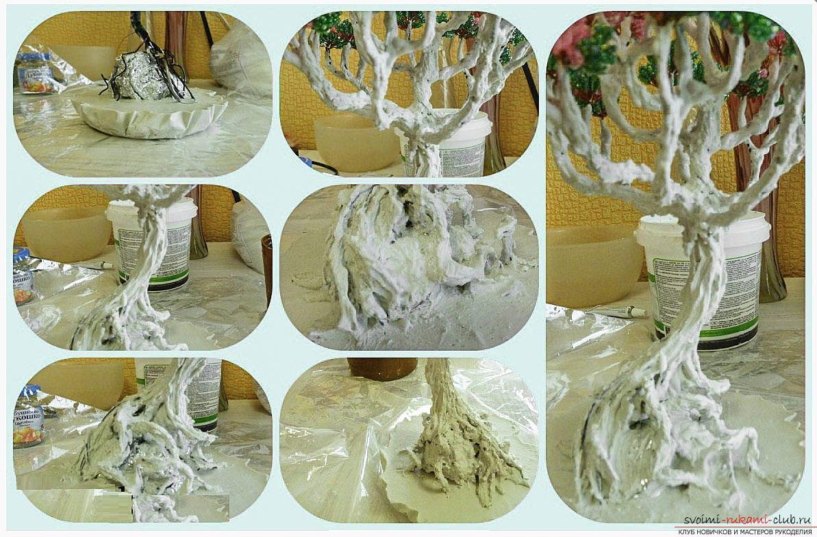 Как сделать дерево бонсай из бисера своими руками, несколько мастер классов создания бонсай в разных цветовых решениях, пошаговые фото и описание. Фото №18