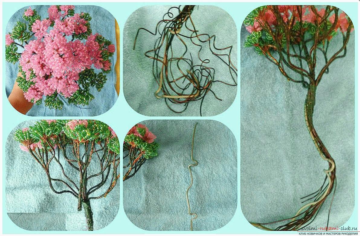 Как сделать дерево бонсай из бисера своими руками, несколько мастер классов создания бонсай в разных цветовых решениях, пошаговые фото и описание. Фото №16