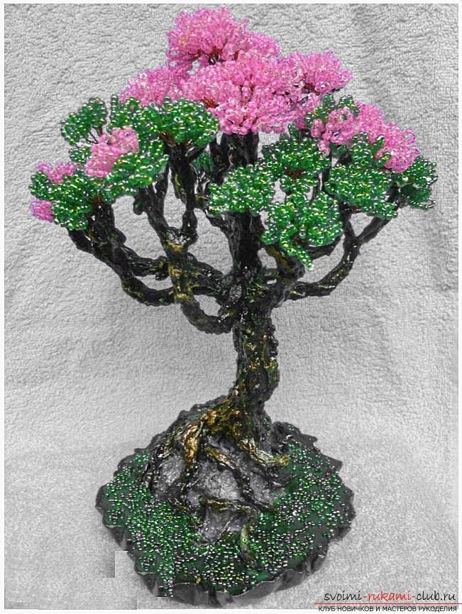 Как сделать дерево бонсай из бисера своими руками, несколько мастер классов создания бонсай в разных цветовых решениях, пошаговые фото и описание. Фото №13
